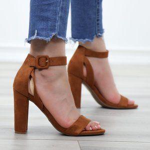 Faux Suede Open Toe Block High Heel Sandals
